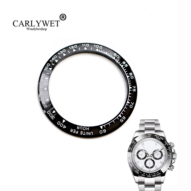 CARLYWET Wholesale High Quality Ceramic Black with White Writing Watch Bezel for