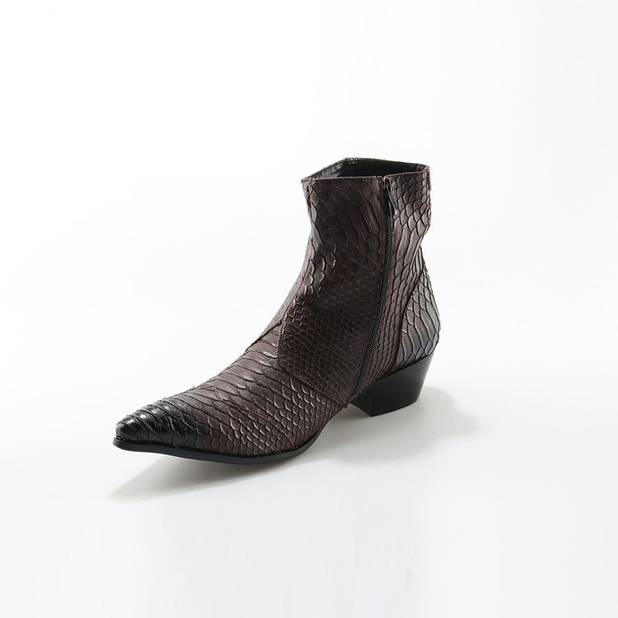 Image 4 - Crocodile Grain Brown White Mens Ankle Boots Embossed Genuine Leather Dress Boots Spring High Flat Boots New Mens Wedding Shoes-in Basic Boots from Shoes