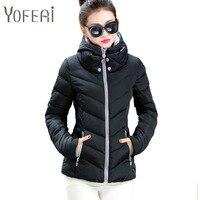 YOFEAI NEW 2017 Women Jacket Fashion Coats Jackets Autumn Winter Cotton Short Outwear Parka Hooded Jacket