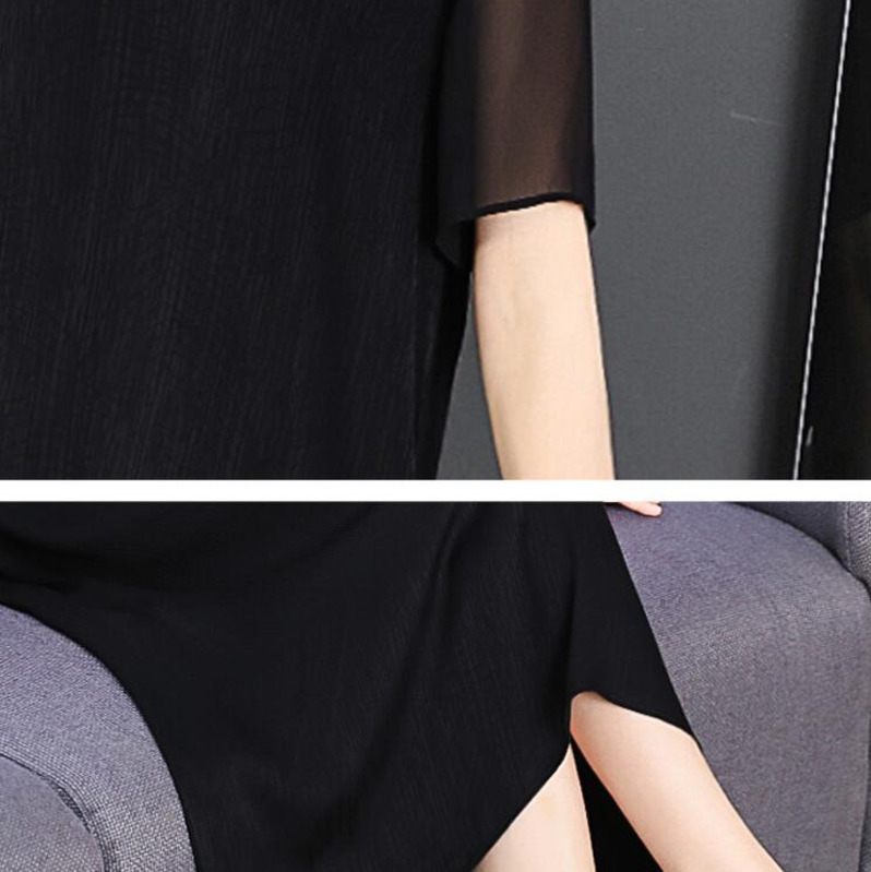 0213 Woman Summer Black Retro Mid calf Length Dress Elegant Women Plus Size Fashion Dresses Party Short Sleeve Runway Vestidos in Dresses from Women 39 s Clothing