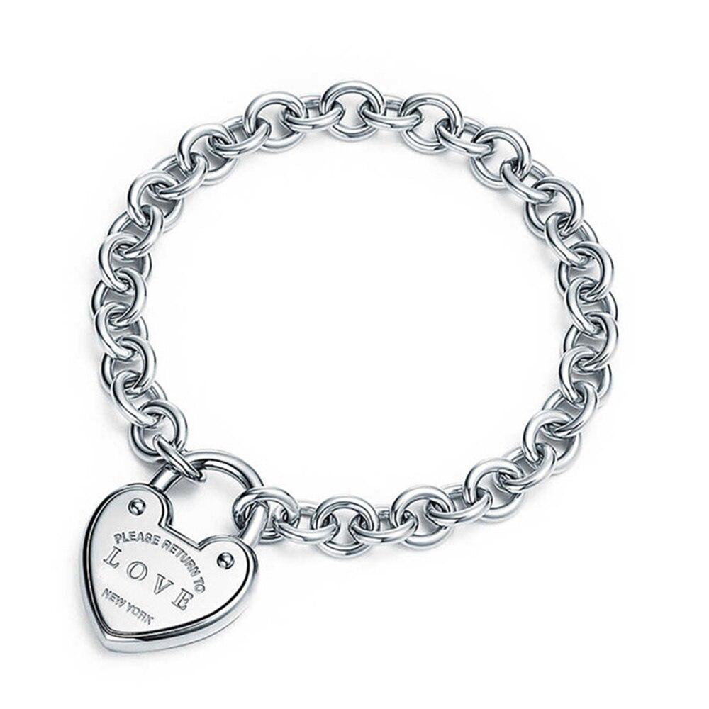 Heart Shape Bracelet & Bangle Brand 925 Sterling Silver Heart T sign Pendant Simple Design For Women Elegant Fine Jewelry wlogo (3)