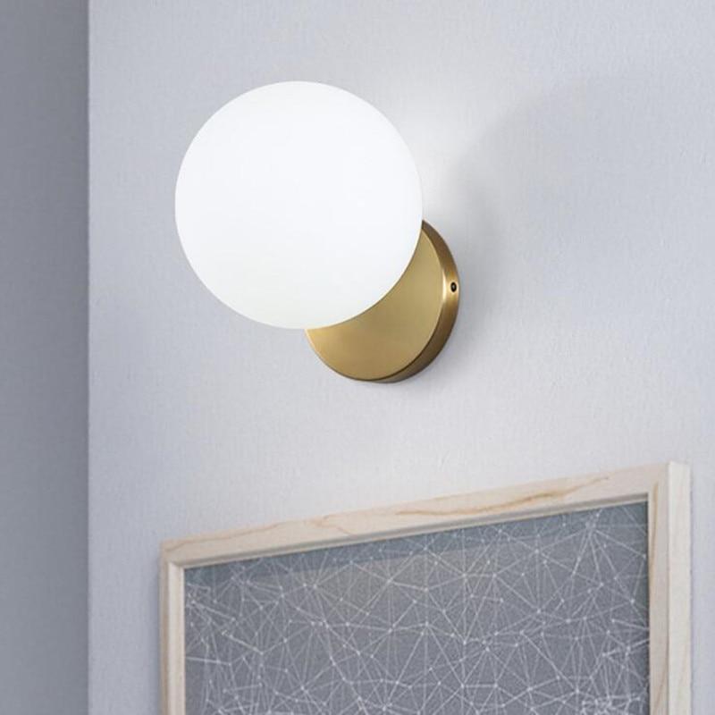 все цены на Abajur Nordic Modern Iron Art E14 LED Wall Lamp for Living Room Bedroom Glass Lampshade Round Ball Home Deco Wall Light Fixtures онлайн