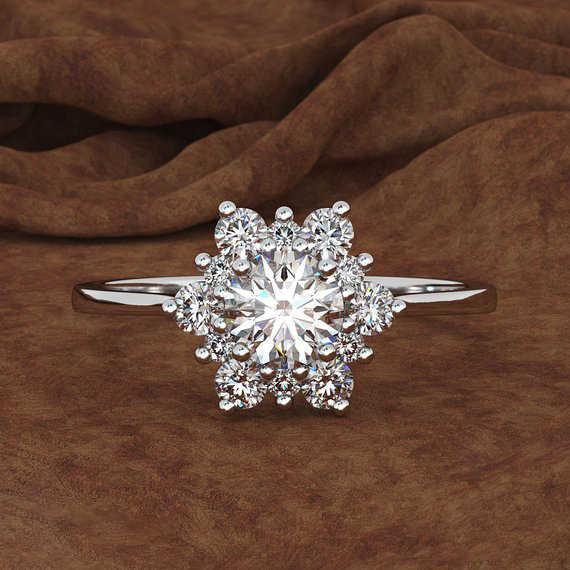 Luxus Weibliche Schneeflocke Ring Mode Gelbe Rose Gold Farbe Kristall Zirkon Stein Ring Vintage Hochzeit Ringe Für Frauen