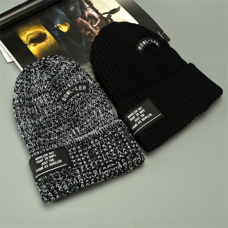2019 Knitted Letter Design Autumn Warm Cap Casual Wool   Beanies   for Men Women Fashion Knitted Winter Hat Boy Caps for Women Caps