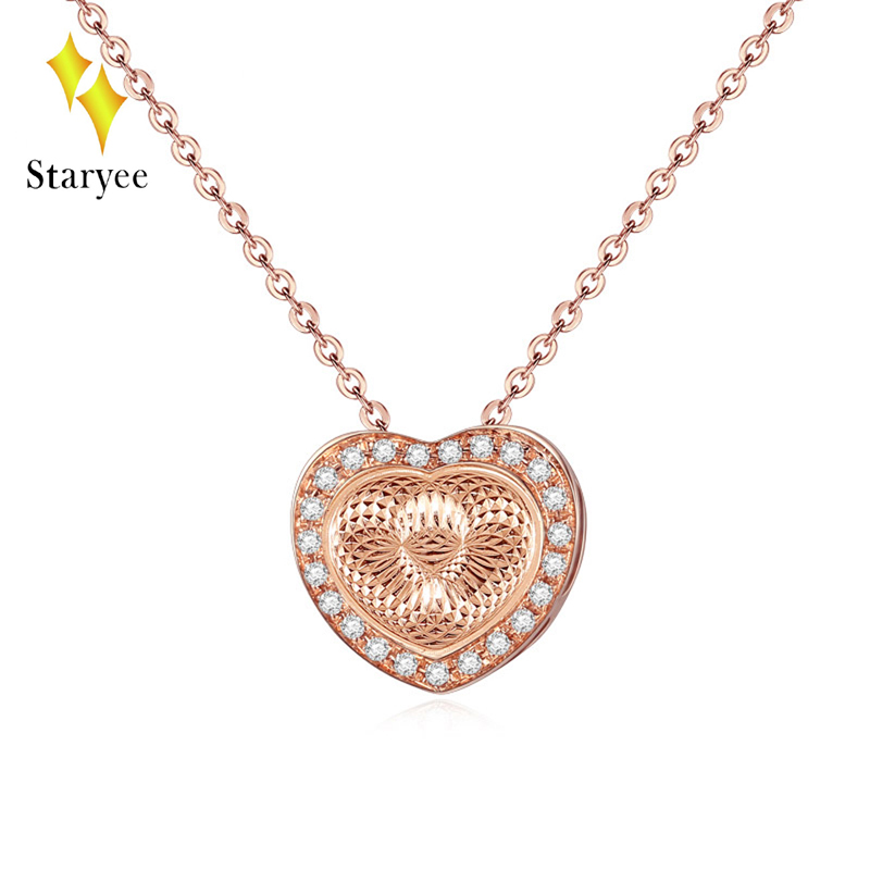 Real Solid 18K Au750 Rose Gold VS H 0.09CT Natural Diamond Heart Shape Chain Pendant Necklace For Women Jewelry Engagement Gift цены онлайн