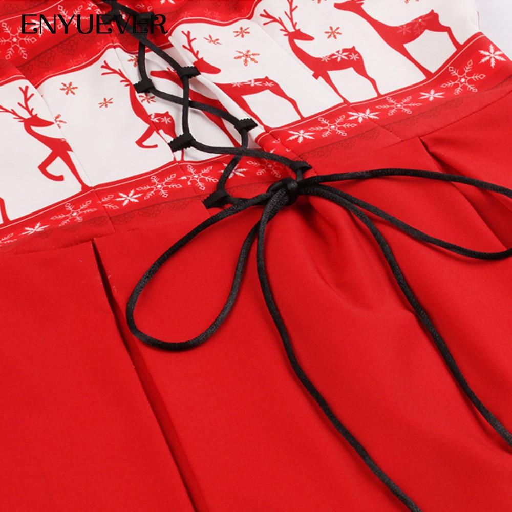 145b9b262d ... Enyuever Red Christmas Dress Womens Tank Lace Up Vestido Vintage Snow  Elk Print Robe Noel Xmas ...