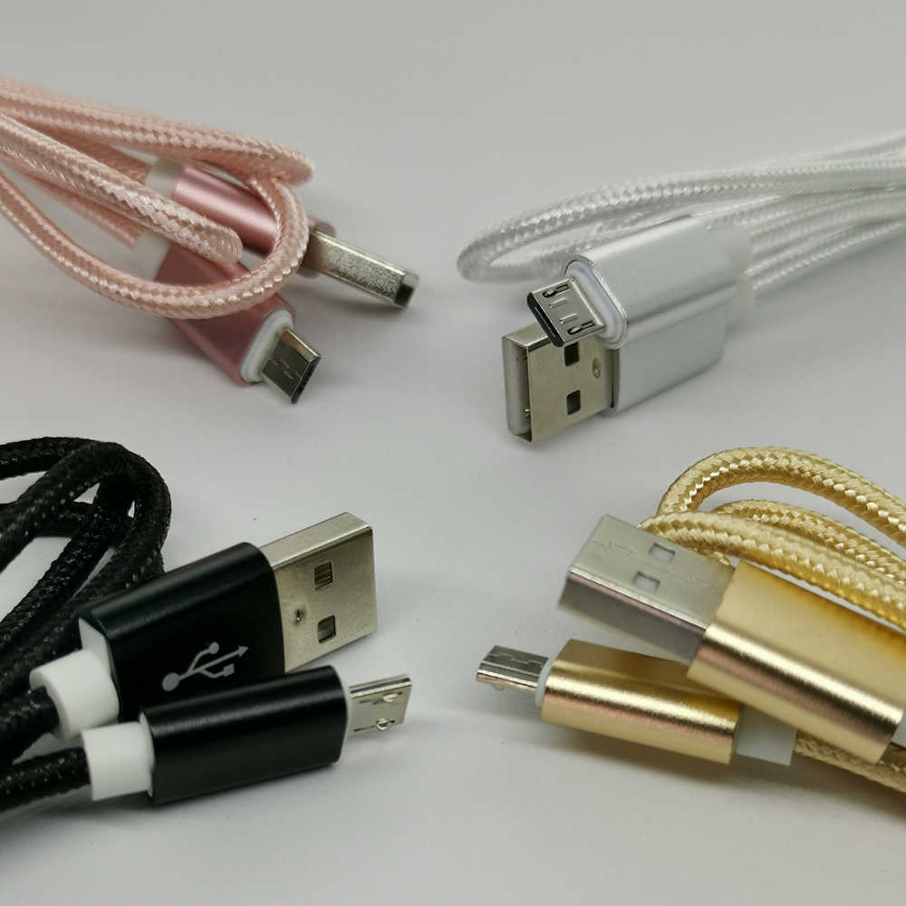 1m المصغّر USB كابل النايلون سريع تهمة USB كابل بيانات لسامسونج Xiaomi LG اللوحي شاحن هاتف محمول يعمل بنظام تشغيل أندرويد USB كابل شحن