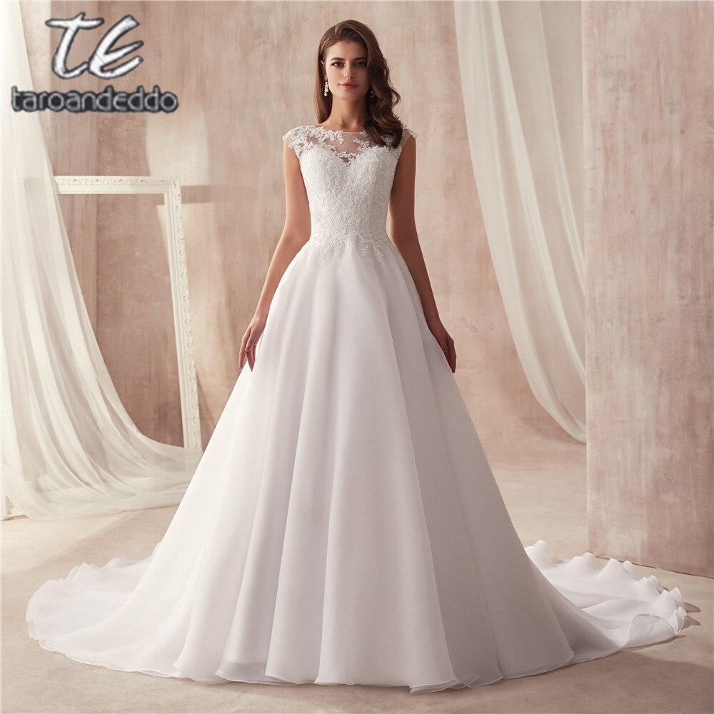 Scoop Sleeveless A line Organza Wedding Dress Simple Style vestido longo Customized Made Bridal Dress from