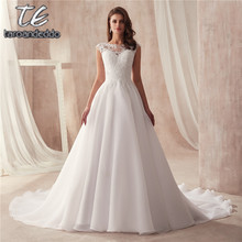 Scoop Sleeveless A line Organza Wedding Dress Simple Style vestido longo Customized Made Bridal Dress from Factory Directly