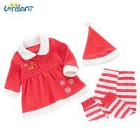 LONSANT Infant Baby Girls XMAS Outfits Long Sleeve Cotton Clothes Dress Tops Pants Leggings Hat 3PCS