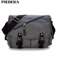 PHEDERA New Brand High Quality Wash Canvas Male Bag Shoulder Messenger Bag Vintage Men Crossbody Bags