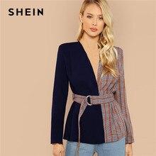 3acaa7e651 SHEIN Multicolor elegancka pani urząd Two Tone popędzający Plaid regularne  Fit moda płaszcz 2018 jesień odzież robocza kobiety p.