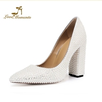 4 Inches Chunky Heel White Pearl Bride Wedding Party Shoes Mother of the Bride Shoes Pointed Toe Customized Evening Club Pumps