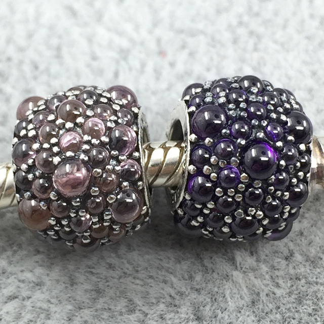 1c8a182f9 Pink&Purple Shimmering Droplets Charm 925 Sterling Silver Flower European Beads  Fit Pandora Charms Bracelets &Necklace SP00141