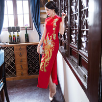 Elegant Long Women's Red Silk Cheongsam Wedding Dress Embroidered Formal Evening Party Dresses Plus Size Robe Chinoise 2019