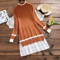 Mori Girl Knitwear Sweater Dress Fall Clothes 2017 New Autumn And Winter Dresses Women Lace Stitching