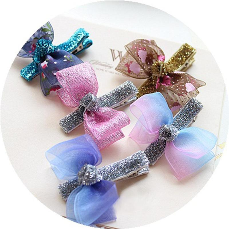 Girls Hair Butterfly Glitter Hair Clip Pin Kids Children Hairpin Beautiful Yarn Hairclips Cute Hot Sale Hair Decors C1 12 colors cute girls hairpins children elsa side knotted clip hairpin hair clip small size hair accessories