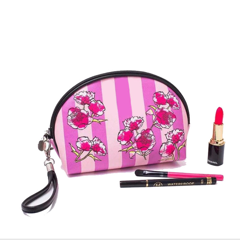 floral make up bag fashion cosmetic case PU waterproof organizer bag for travel wash pouch