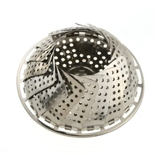 Free shipping 1pcs stainless steel steamer rack multifunction retractable drip fruit pots steaming plate rack grid
