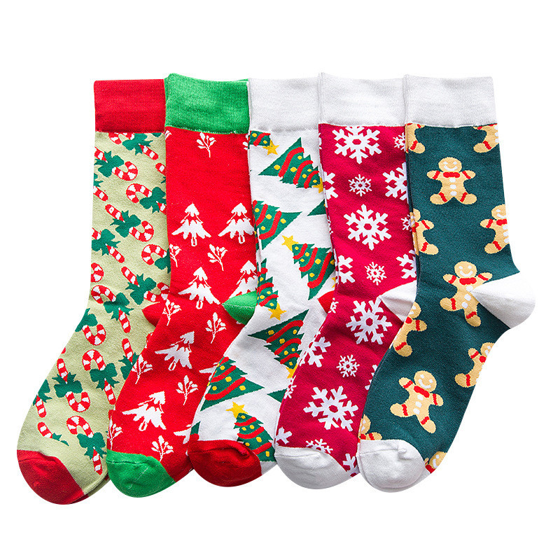 New Funny Color Christmas Cotton Men/Women Socks of Pattern Cane Snowflake Ginger Pie Man Holiday Novelty Red Winter Fuzzy Red image