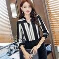 Nueva llegada del otoño del Resorte 2016 mujeres de la venta caliente superior de Corea moda suelta de manga larga camisa de Gasa camisa femenina delgada 892F 25