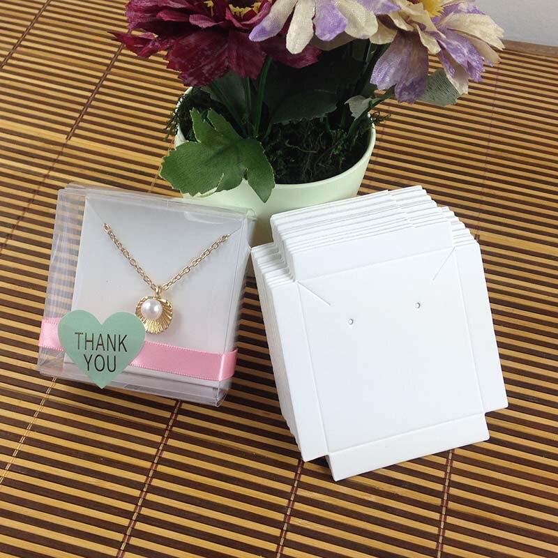 1Lot =50 Box +50 Pcs Inner  Card 65x65x30mm  White/Black/Kraft  Necklace  /Earring  BOX BOXEarring /Necklace /Ring /Jewelry Set