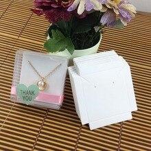 1Lot = 50 box + 50 stücke innere Karte 65x65x30mm Weiß/Schwarz/kraft Halskette/Ohrring BOX BOXEarring/Halskette/Ring/Schmuck Set