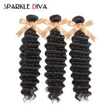 Sparkle Diva Hair Deep Wave Brazilian Hair Weave Bundles 100% Human Hair Bundles 8-28inch Natural Color Non Remy Hair Extensions