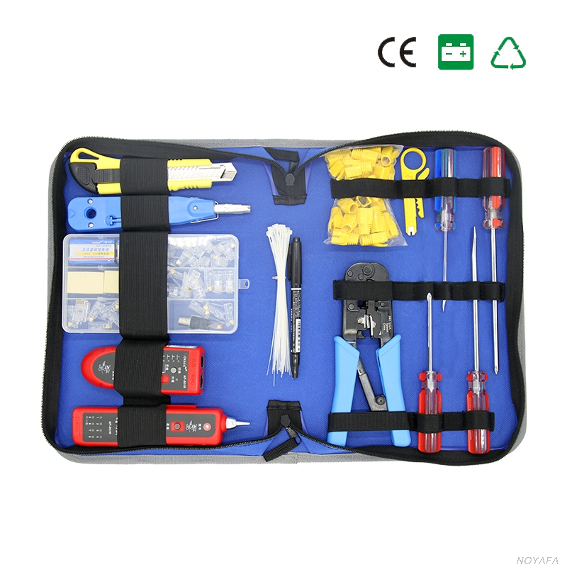 Network Combination Cable Wire Tester Crimping Cutter Punch Down Tools Kit RJ11 RJ45 Computer Network Tool Repair Kit Cable Tie pro skit 8pk 313b 5 in 1 wire bolt cutter crimping stripping tool yellow black