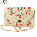 2017 Summer New Cherry/Banana Straw Messenger Bags Woven Day Clutch Flap Bag Beach Package Crossbody Chain Bags