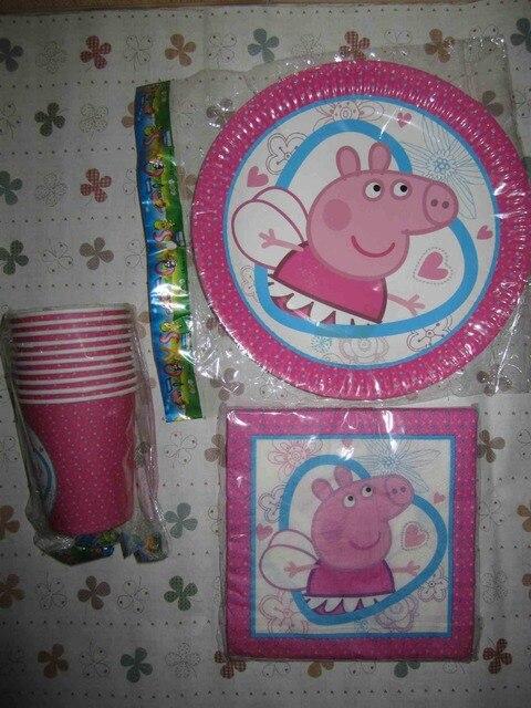 Nuevo estilo PINK PIGS 40 unids/set Vasos Desechables De Papel de Dibujos Animados/Vidrio + Placas Niños Niños favores de la Fiesta de cumpleaños Decoración suministros