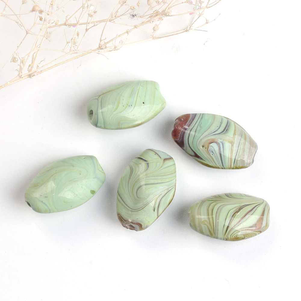 DoreenBeads Lampwork Glass Green Yellow Beads Oval Stripe DIY Components About 22mm( 7/8)x 14mm( 4/8), Hole: Approx 2mm, 5 PCs