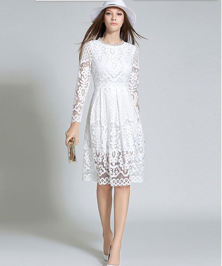 0a4b884b24295 US $29.87 19% OFF|2019 Hot selling girls fashion slim lace red dresses  women casual elegant European design quality dress white XL M#L132-in  Dresses ...