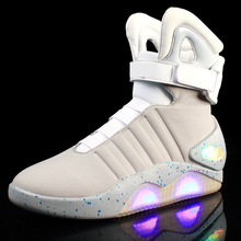 Adults USB Charging Led Luminous Shoes For Men's Fashion Light Up Casual Men B back to the Future Glowing Sneakers Free ship