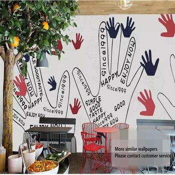 Custom 3d wallpaper hand-painted graffiti palm print KTV dessert shop bar restaurant background wall