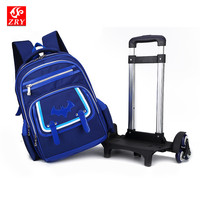 Removable 2 6 Wheels Girls Waterproof Schoolbag Boy Trolley Bag Children School Bags Kids Wheeled Backpack