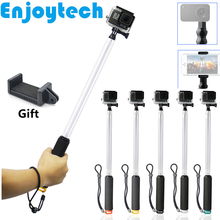 hot deal buy 2 in 1 transparent selfie stick for gopro hero sjcam xiaoyi action cameras monopod with holder for iphone xiaomi android phones