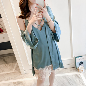 4e39a856c06b9 Сексуальная атласная Женская пижама с кружевом женские одеяния пижамы  Ночная рубашка 2 шт. вискоза Домашняя одежда халат & Cami ночная рубашка.