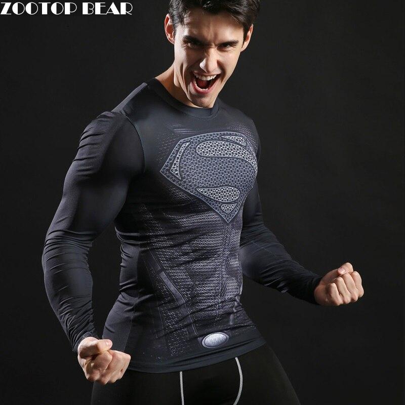 Superman Stampato Magliette Da Uomo Compressione Top Fitness T-Shirt 2017 Novità Estate Sottile Stretto Tee Supereroe Crossfit ZOOTOP ORSO