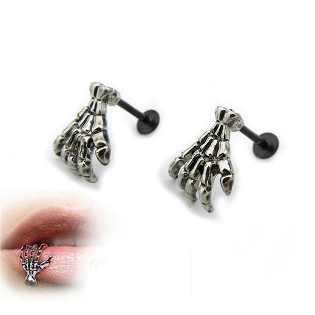 Skeleton Hand Lip Piercing Jewelry 2018 Cartilage Lip 16g Stud Earring Cuff Jewelry Bar fashion Punk
