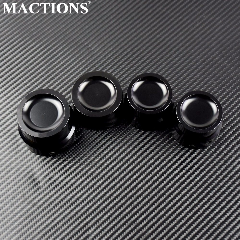 Black Front Axle Nut Covers For Harley Dyna Softail Touring Electra Road Glide