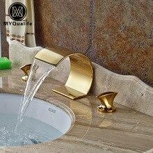 Creative Deck Mount Waterfall Basin Faucet Double Handle Mixer Tap Golden Brass Hot Cold Faucet