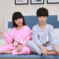 Flannel pajamas for children 2016 winter boys Girls Coral fleece long sleeved warm pyjamas sets kids Christmas clothes wholesale