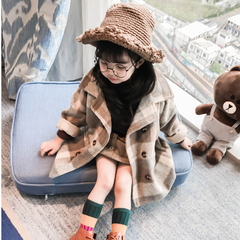 DFXD Winter Children Warm Outwear Toddler Girl Clothes Long Plaid Double-breasted Turn Down Collar Thicken Wool Coat 1-7Years amii casual women woolen coat 2018 winter turn down collar solid double breasted female wool blends
