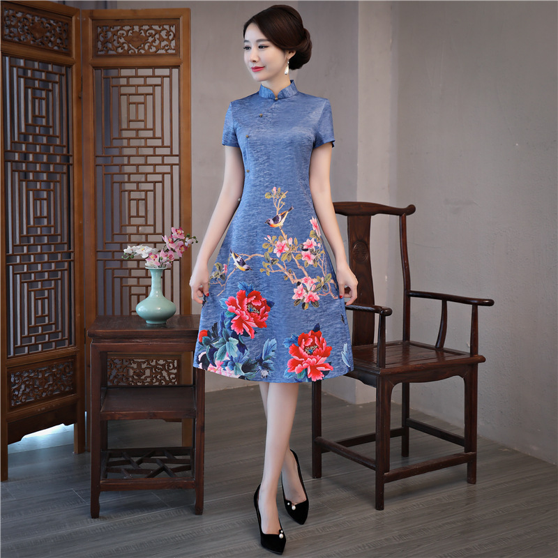 Blue Vintage Flower Chinese Women Satin Dress Novelty Jacquard Sexy A-Line Qipao Elegant Mandarin Collar Short Cheongsam