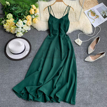 CUERLY Sexy Strap Long Dress Women Elegant Backless Dresses Vintage Beach Party Maxi Robe