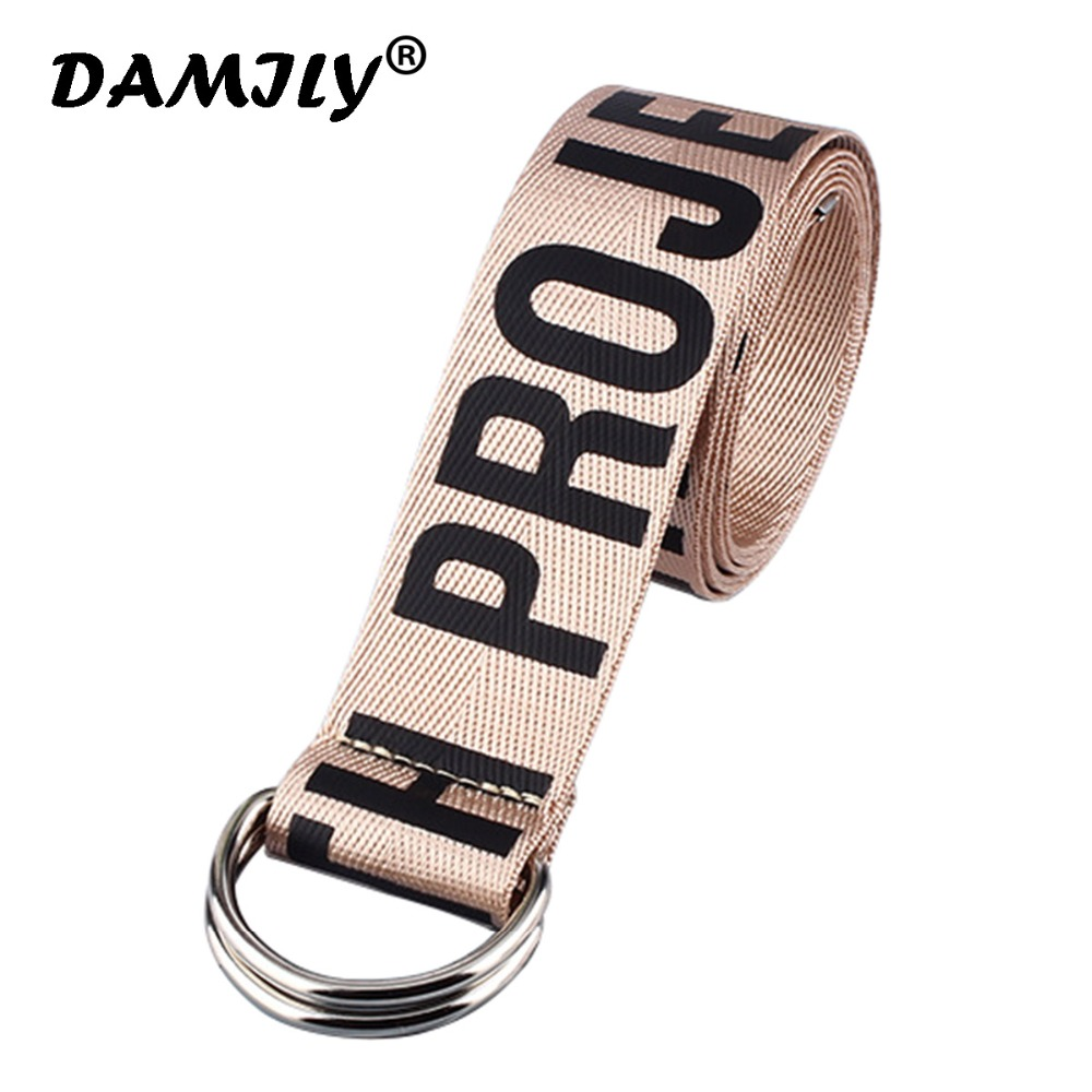 New Harajuku Style 7 Color Letter Printed Canvas Nylon Brief   Belt   For Unisex Fashion Casual Accessry Street Hip Hop Tide Strap