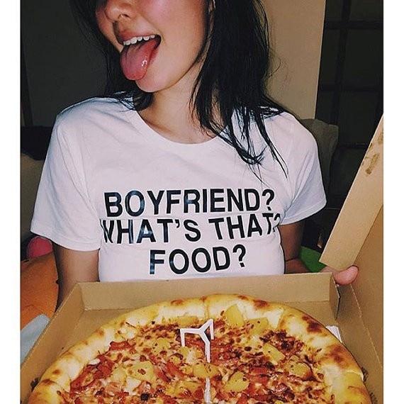 Boyfriend?whats that ? food ? funny quote tumblr t shirt aesthetic t shirt moletom do tumblr tees casual girls tops t shirt