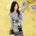 New Autumn  Sweaters Dress Fashion Cat Printed Long-Sleeve Knitted Pullovers Women's Knitwear  WL1045