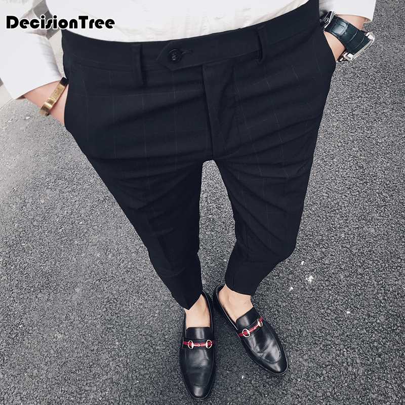 2019 summer wool and silk men's suit pants single pleated thick dress pants men classical men dress pants